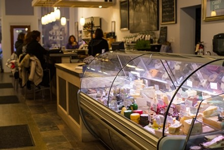 Cheese counter at The Cheese Gallery
