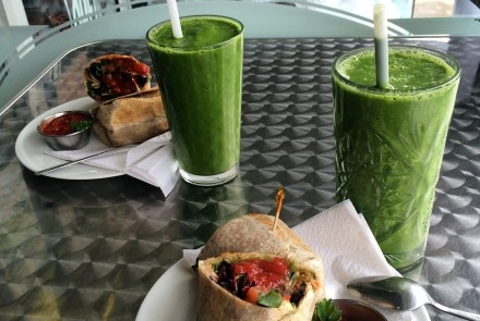 Burritos and Green Machine smoothies at the Bleeding Carrot