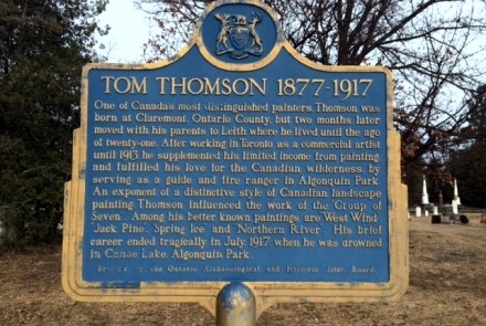 Tom Thomson historical plaque at Leith Church